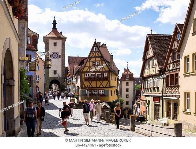 Plönlein with Siebersturm and Kobolzeller Tor, tower and old town gate, Rothenburg ob der Tauber, Middle Franconia, Franconia, Bavaria, Germany