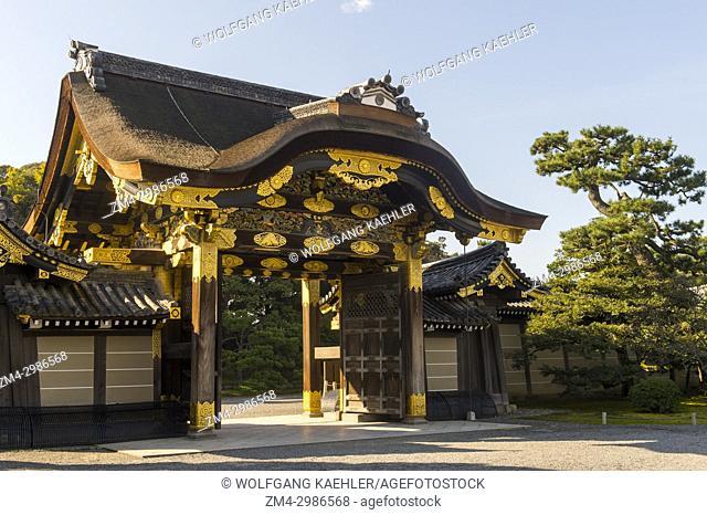 The Karamon main gate to Ninomaru Palace of the Nijo Castle, a UNESCO World Heritage Site, in Kyoto, Japan