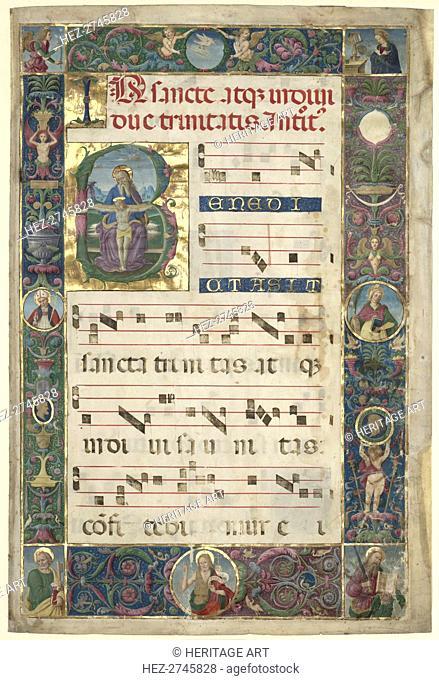 The Trinity: Leaf from a Gradual with Initial B, c. 1496-1502. Creator: Perugino (Italian, c1450/55-1523), circle of