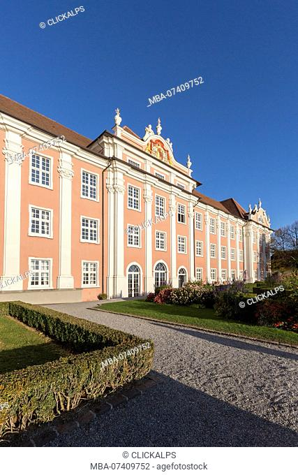 Facade of the New Castle from its gardens. Meersburg, Baden-Württemberg, Germany