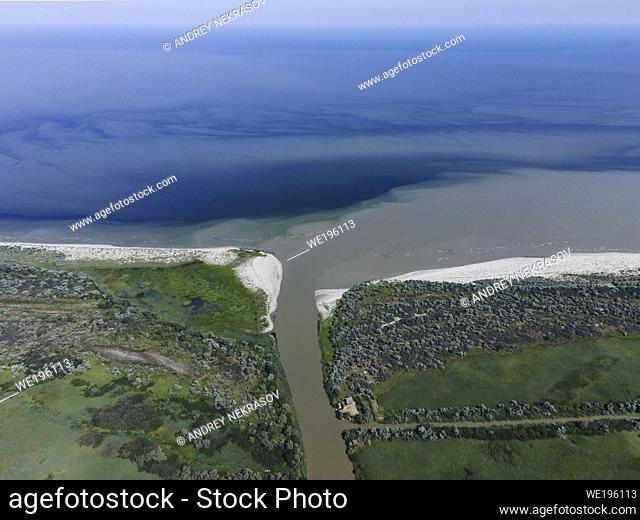 DANUBE DELTA, VYLKOVE, ODESSA OBLAST, UKRAINE - JULY 11-15, 2020: Aerial view on the Danube Biosphere Reserve in Danuble delta