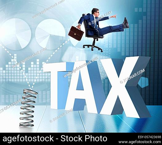 The businessman jumping from spring in business concept