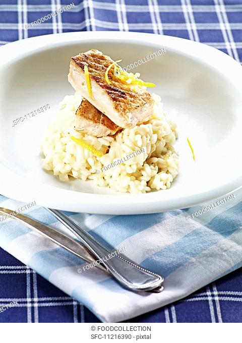 Risotto with zander and lemon zest