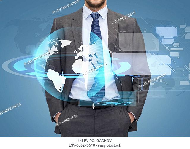 business, people and global connection concept - close up of businessman over blue background with globe hologram and virtual screens