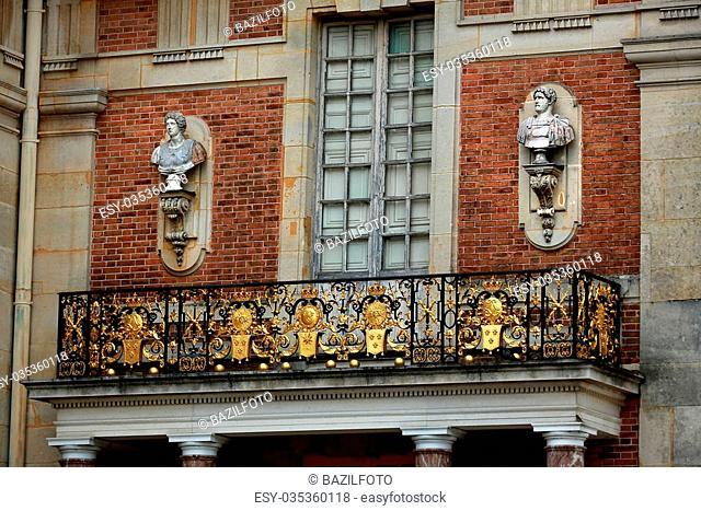 fragment facade of Versailles Palace in Ile de France