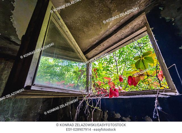 Inside the abandoned block of flats in Chernobyl-2 military base, Chernobyl Nuclear Power Plant Zone of Alienation in Ukraine