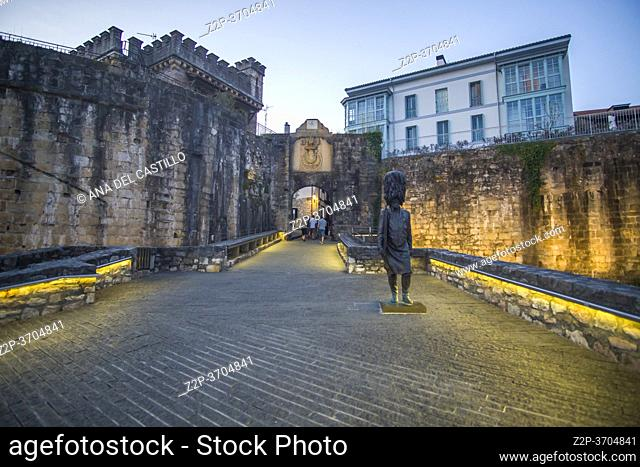 Hondarribia, a town in Gipuzkoa, Spain on July 23, 2020: The medieval city by dusk