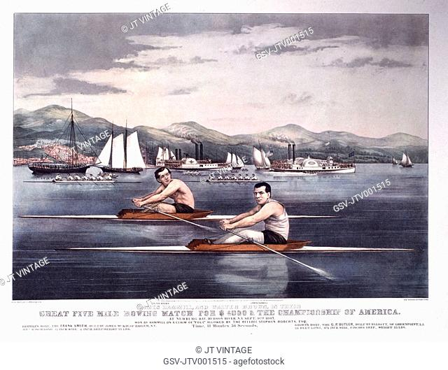 Great Five Mile Rowing Match for $4000 and the Championship of America, Hudson River, New York, Currier & Ives, Lithograph, Circa 1867