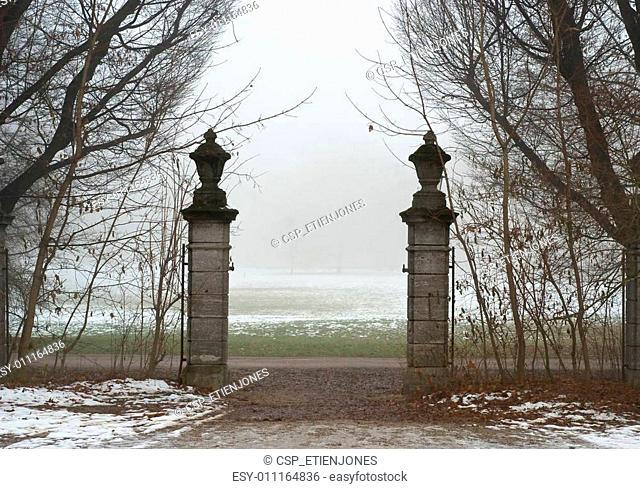 Gate onto a Foggy Field