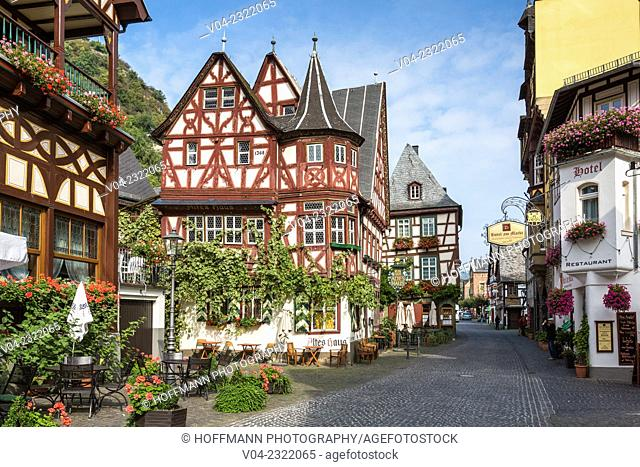 Picturesque timbered houses and 14th century Altes Haus (Old House) in Bacharach, Rhineland-Palatinate, Germany, Europe