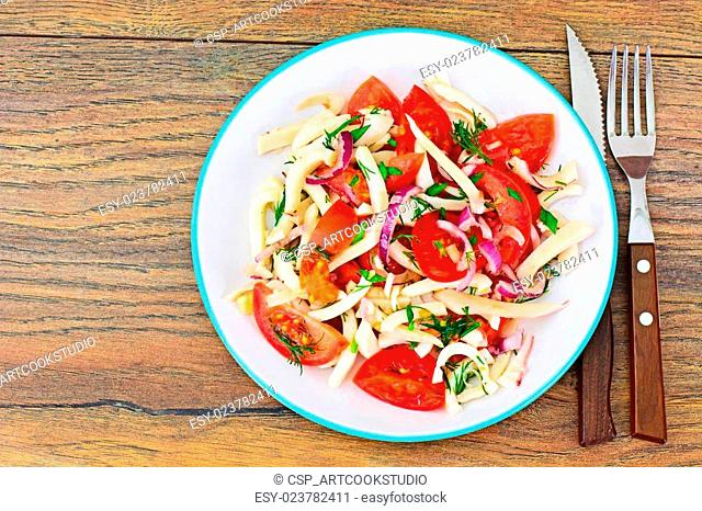 Salad with Squid, Tomato, Red Onion, Vegetable Oil