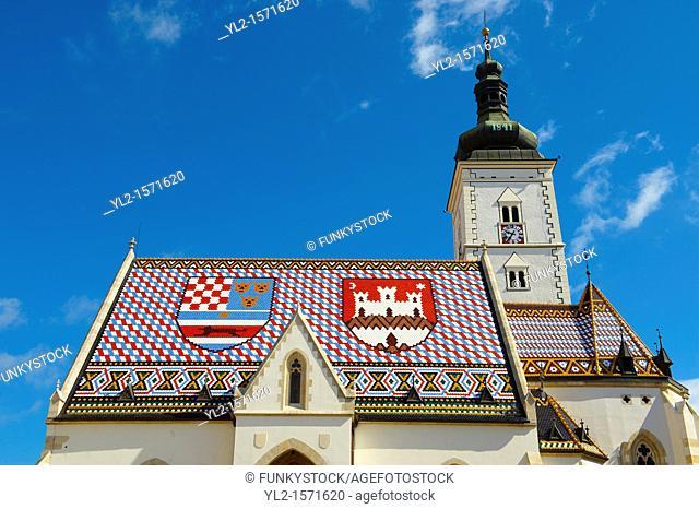 Late Gothic church of St  Mark's Church Crkva sv  Marka , Zagreb, Croatia