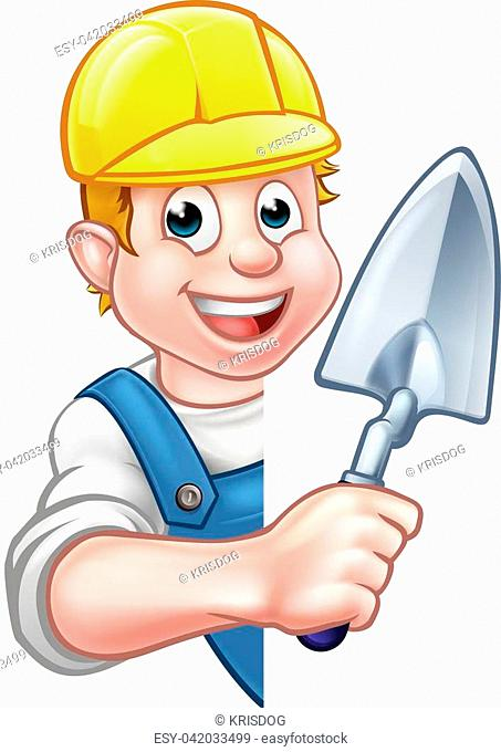 A cartoon builder or bricklayer construction worker holding a masons brick laying trowel hand tool, waering a hard hat and peeking around sign