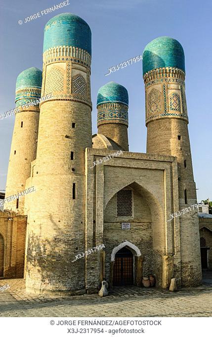 Chor minor mosque, Bukhara, Uzbekistan, Asia