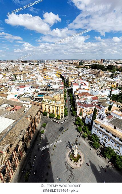 High angle view of city square in Seville cityscape, Andalusia, Spain