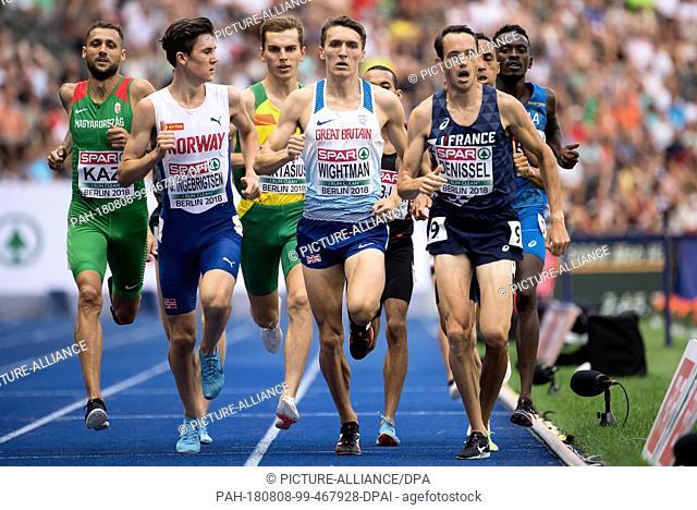 08.08.2018, Berlin: Athletics: European Championships in the Olympic Stadium: 1500m, heat, men: Jakob Ingebrigtsen (front l-r) from Norway