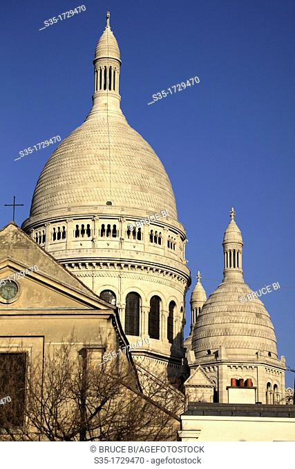 The dome of Basilica of the Sacre Coeur in Montmartre  Paris  France