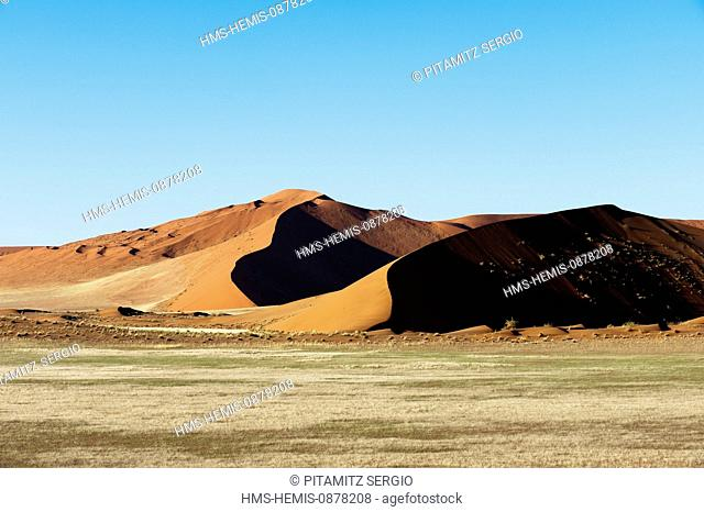 Namibia, Hardap region, Namib desert, Namib-Naukluft national park, Namib Sand Sea listed as World Heritage by UNESCO (aerial view)