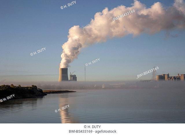 cooling tower of the power station Rostock in mist, Germany, M-V, Schnatermann, Rostock