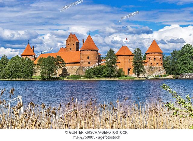 Trakai Island Castle was built in the 14th century and is situated close to Vilnius, Lithuania, Baltic States, Europe