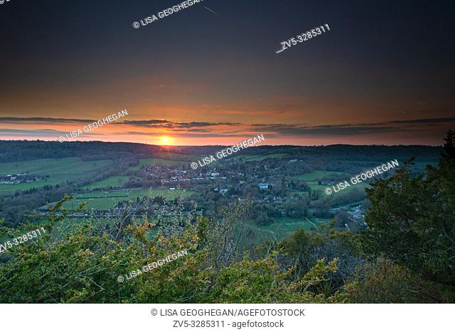 View of Dorking from Box Hill during sunset. National Trust in the Surrey Hills, England. Uk