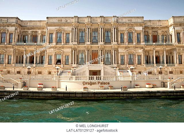 The Ciragan Palace is a 19th century Ottoman style palace and is now now a Kempinski Hotel, beside the Bosphorus sea