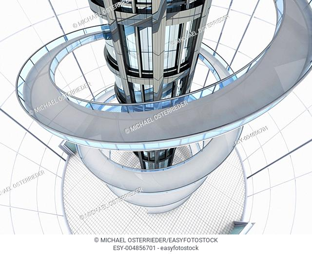 Science fiction architecture visualisation  3D rendered illustration