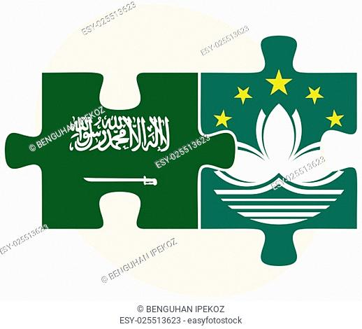 Saudi Arabia and Macau Flags in puzzle isolated on white background