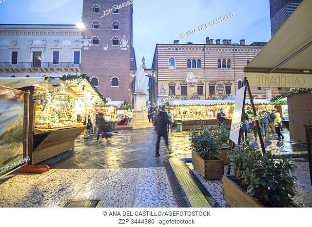Verona Veneto on November 23, 2019. Christmas market in the Piazza dei Signori