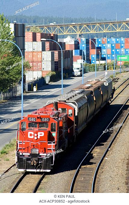 A small CP train of cars at the Port of Vancouver