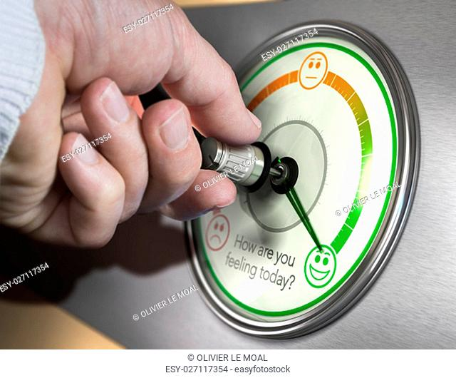 Hand turning a mood indicator knob to the optimistic position. Composite image between a photography and a 3D background