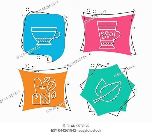 Set of Mint bag, Dry cappuccino and Frappe icons. Mint leaves sign. Mentha tea, Beverage mug, Cold drink. Mentha herbal. Flat geometric colored tags
