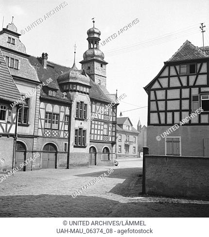 Das Alte Rathaus von Lorsch an der Bergtraße, Deutsches Reich 1930er Jahre. The old town hall of Lorsch at Berstraße, Germany 1930s