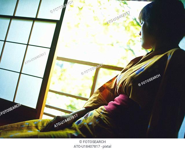 Young Women Wearing A Yukata