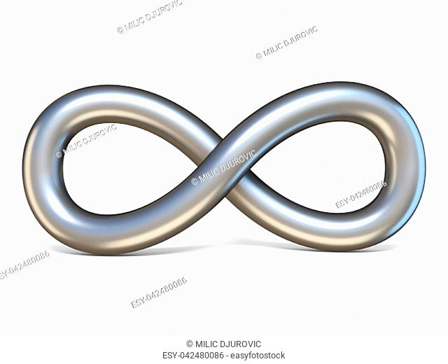 Infinite metal sign 3D render illustration isolated on white background