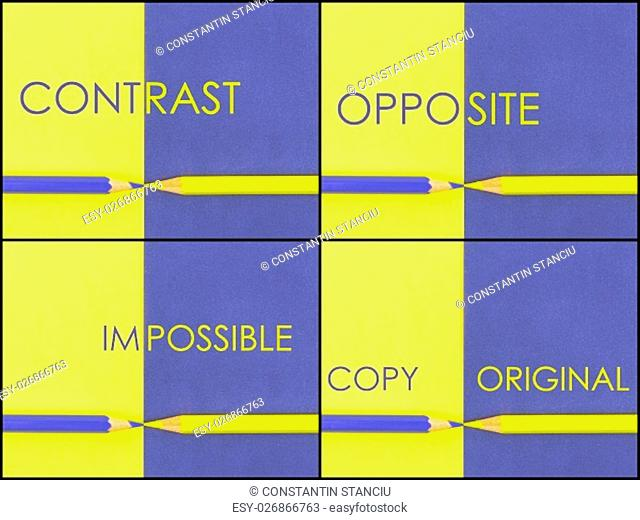 Photo collage of CONTRAST concept over Yellow and Violet coloured paper. Words Contrast, Opposite, Impossible, Copy Original