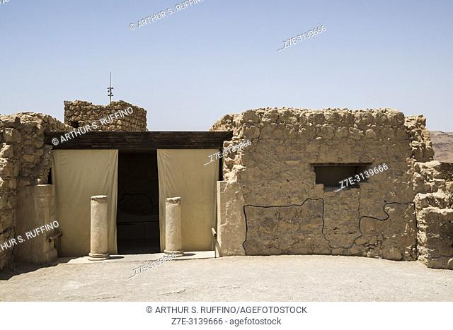 Masada fortress. Archaeological ruins. Masada National Park, Judean Desert, UNESCO World Heritage Site, Israel, Middle East