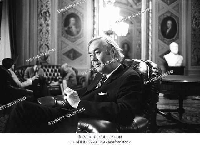 Democratic Senator Daniel Moynihan in the U.S. Capitol, Jan 24, 1977. He served in the Kennedy, Johnson, Nixon, and Ford Administrations before he was elected...