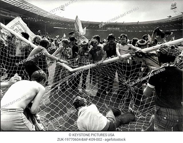 Jun. 04, 1977 - Scots Supporters Go Wild At Wembley After Scotland Beat England. After Scotland had beaten England 2-1 at Wembley today
