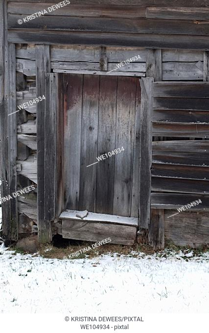 The door to an old smoke house in Winter