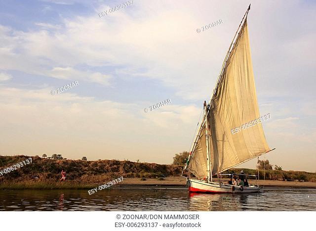 Felucca boats sailing on the Nile river, Luxor, Eg