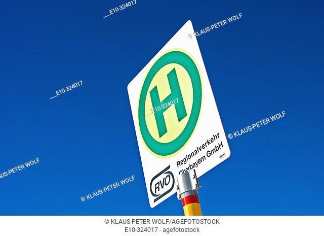 Sign RVO Regionalverkehr Oberbayern GmbH at bus stop. Bavaria. Germany