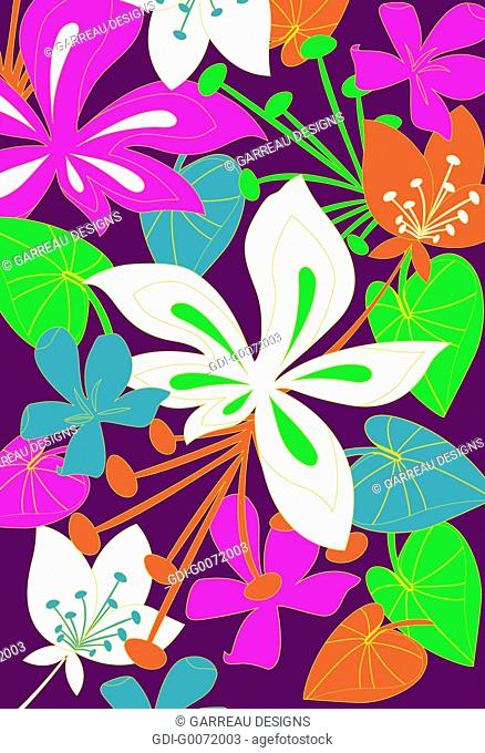 Bright colored tropical flowers