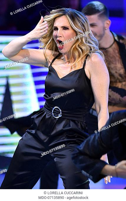 Italian dancer and showgirl Lorella Cuccarini during tv broadcast Buon Compleanno Pippo dedicated to Pippo Baudo to his 83 years and 60 years of work on...