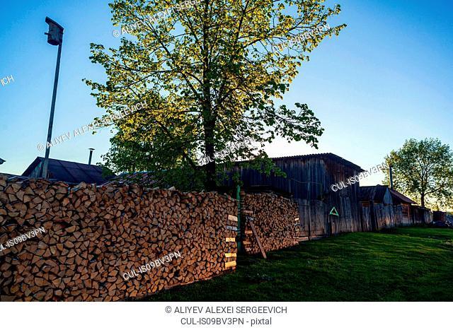 Stacks of firewood on farm, Ural, Sverdlovsk, Russia