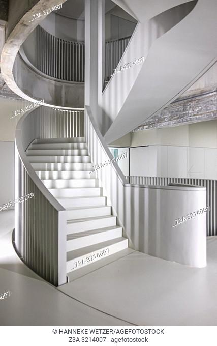 Modern stairs in building Anton, a former Philips factory at Strijp-S, Eindhoven, The Netherlands, Europe
