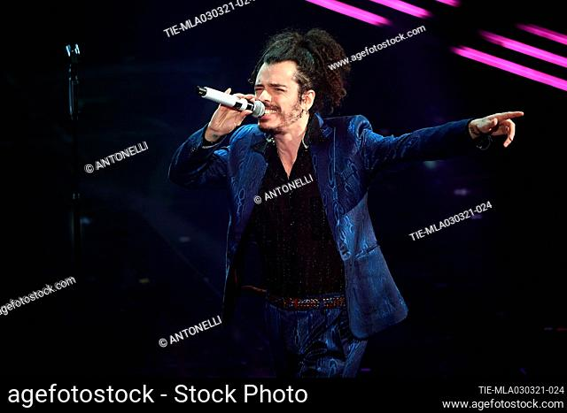 Italian singer Davide Shorty performs on stage at the Ariston theater during the 71st Sanremo Italian Song Festival, in Sanremo, Italy, 03 March 2021