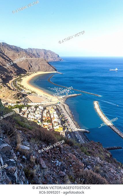 aerial view of Las Teresitas beach and San Andres municipality. Tenerife island