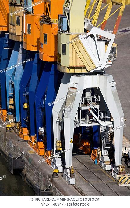 Cranes in the Container Port, Montevideo, Uruguay, South America
