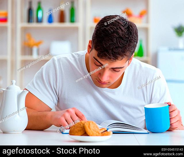 The man falling asleep during his breakfast after overtime work